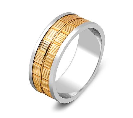 Фото«ZG-50030»Обручальное кольцо из белого и желтого золота