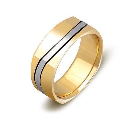 Фото«ZG-50034»Обручальное кольцо из желтого и белого золота