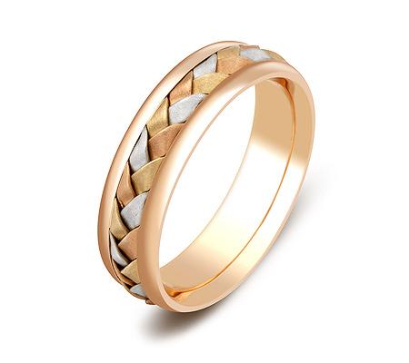 Фото«ZG-50043»Обручальное кольцо из розового золота косичка