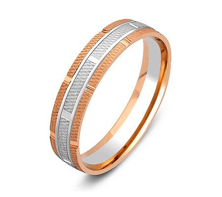 Фото«ZG-50047»Обручальное кольцо из розового и белого золота