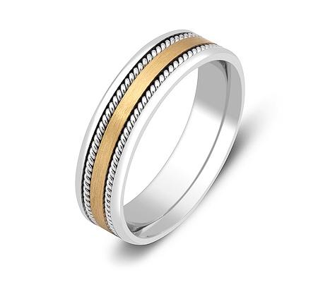 Фото«ZG-50048»Обручальное кольцо из белого и желтого золота