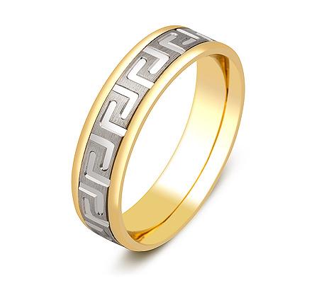 Фото«ZG-50054»Обручальное кольцо желтое и белое золото с орнаментом