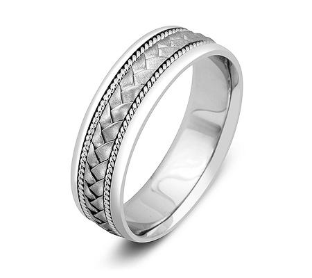Фото«ZG-50059»Обручальное кольцо из белого золота косичка