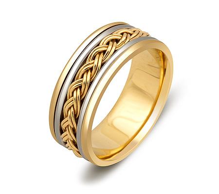 Фото«ZG-50060»Обручальное кольцо из комбинированного золота косичка