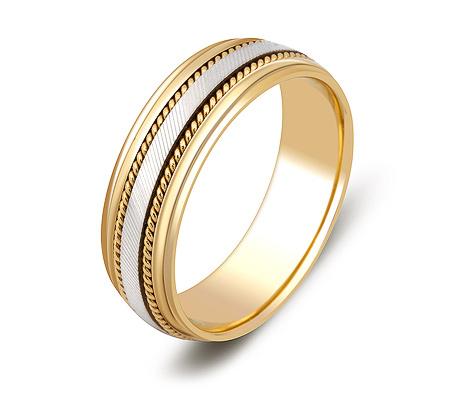 Фото«ZG-50061»Обручальное кольцо из желтого и белого золота