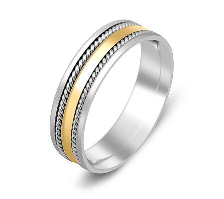 Фото«ZG-50062»Обручальное кольцо из белого и желтого золота
