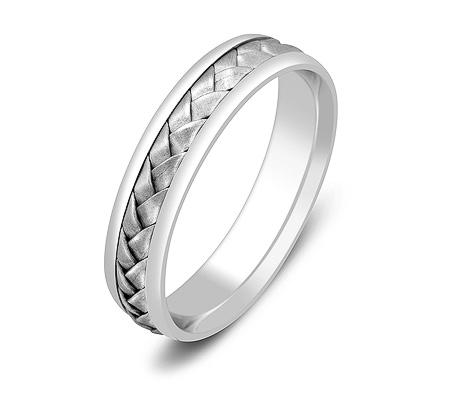 Фото«ZG-50065»Обручальное кольцо из белого золота косичка