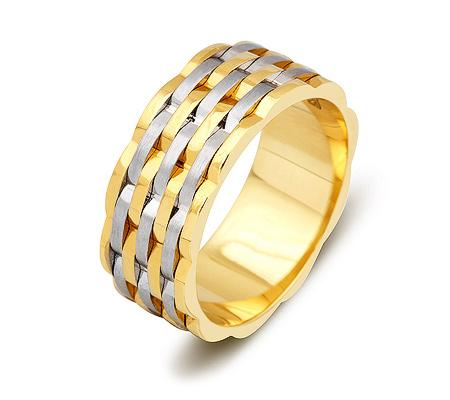 Фото«ZG-50067»Широкое обручальное кольцо из желтого и белого золота