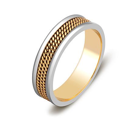 Фото«ZG-50075»Обручальное кольцо из желтого и белого золота