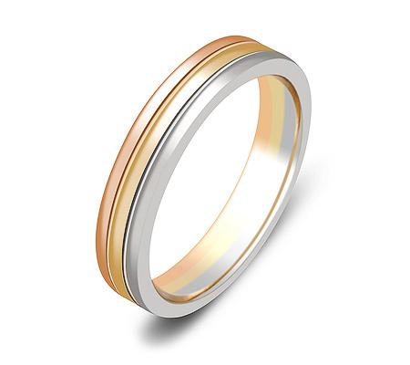 Фото«ZG-50076»Обручальное кольцо три цвета золота