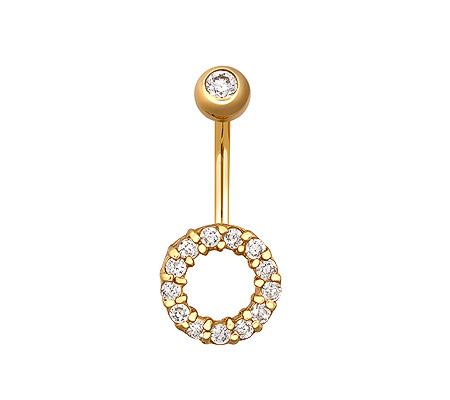 Фото«ZG-5008»Пирсинг в пупок из жёлтого золота круг с фианитами