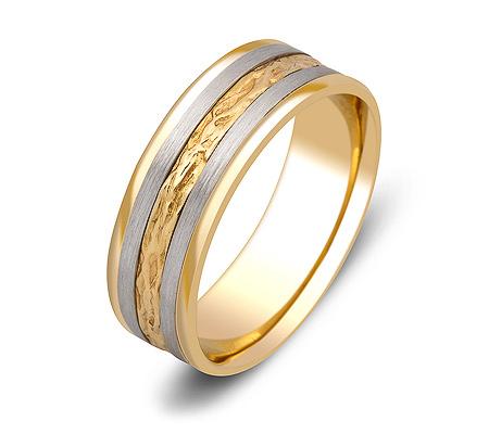 Фото«ZG-50082»Обручальное кольцо из желтого и белого золота