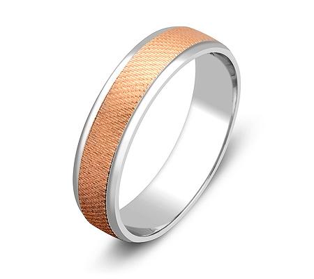 Фото«ZG-50084»Обручальное кольцо из белого и розового золота