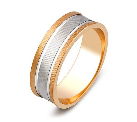 Фото«ZG-50085»Обручальное кольцо из красного золота с белой серединой