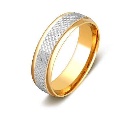 Фото«ZG-50087»Обручальное кольцо из желтого золота белая середина