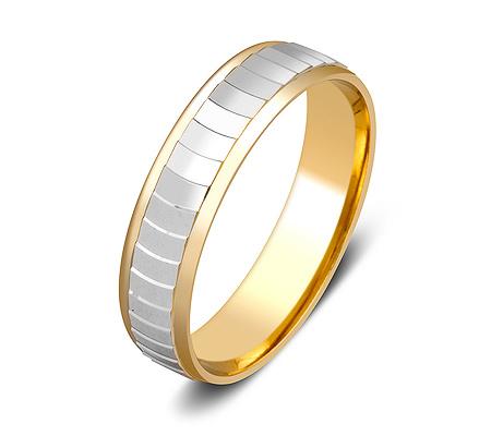 Фото«ZG-50088»Обручальное кольцо из желтого золота с белым