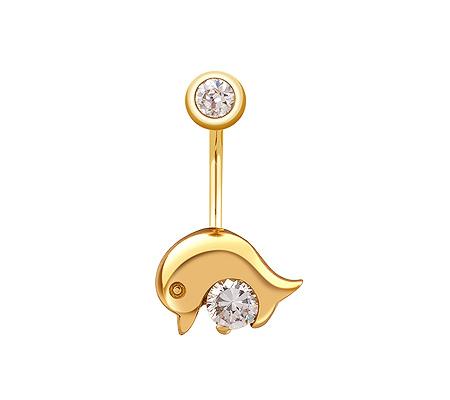 Фото«ZG-5009»Пирсинг в пупок «Дельфин» из жёлтого золота с фианитами