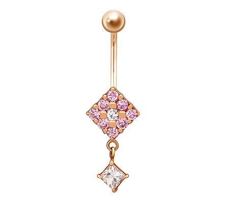 Фото«ZG-5010»Золотой пирсинг в пупок с розовыми фианитами