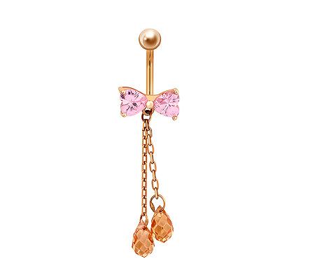 Фото«ZG-5019»Золотой пирсинг в пупок «Бант» из розовых фианитов