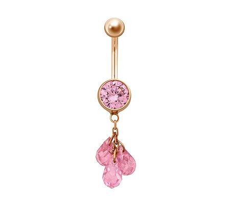 Фото«ZG-5025»Золотой пирсинг в пупок с розовыми фианитами