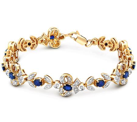 Фото«ZG-7002»Золотой женский браслет с сапфирами и бриллиантами