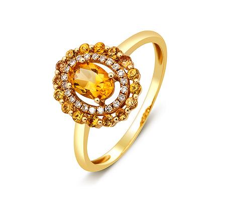 Фото«ZG-8001»Золотое кольцо с цитринами и бриллиантами