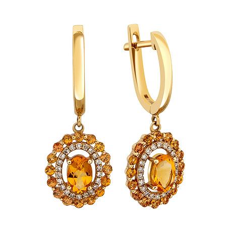 Фото«ZG-8002»Золотые серьги с цитринами и бриллиантами