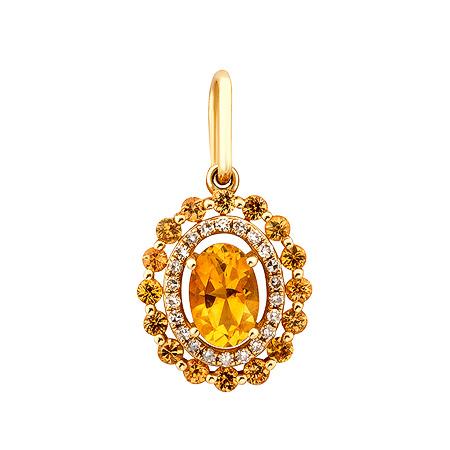 Фото«ZG-8003»Золотая подвеска с бриллиантами и цитринами