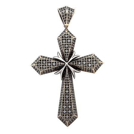 Фото«ZG-9001»Крест из белого золота с бриллиантами, чернение