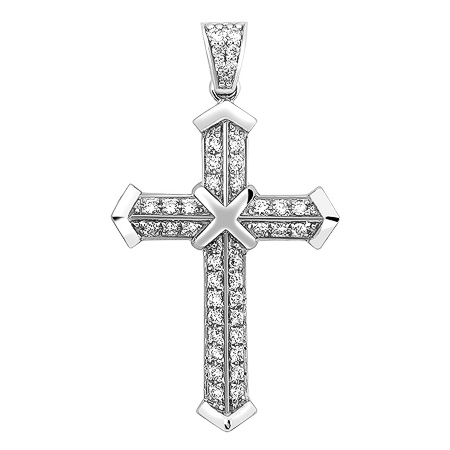 Фото«ZG-9002»Крест из белого золота 750 пробы с бриллиантами