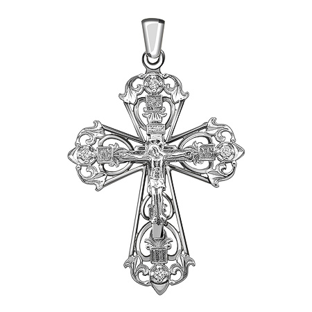 Фото«ZG-9003»Нательный крест из белого золота с бриллиантами