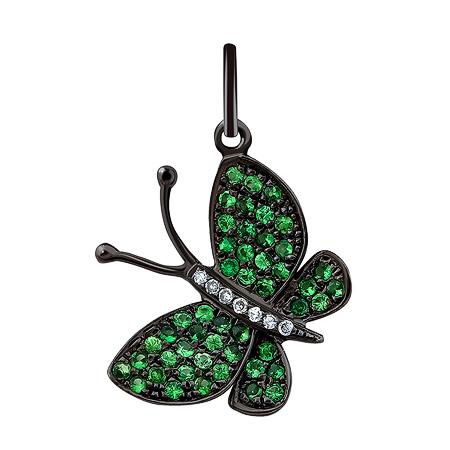Фото«ZG-9103»Подвеска «Бабочка» с бриллиантами и зелёными гранатами