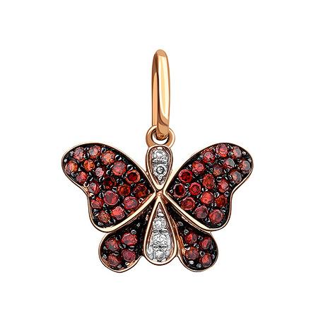 Фото«ZG-9104»Золотая подвеска «Бабочка» с бриллиантами и корундом