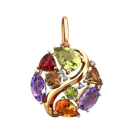 Фото«ZG-9105»Золотая подвеска с драгоценными камнями