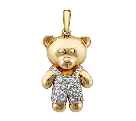 Фото«ZG-9129»Золотая подвеска «Медвежонок» с бриллиантами