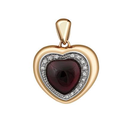 Фото«ZG-9133»Золотая подвеска «Сердце» с гранатом и бриллиантами