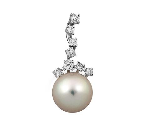 Фото«ZG-9151»Кулон из белого золота с жемчугом и бриллиантами
