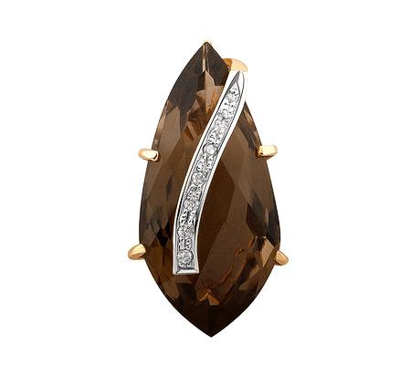Фото«ZG-9160»Золотой кулон с раухтопазом и бриллиантами