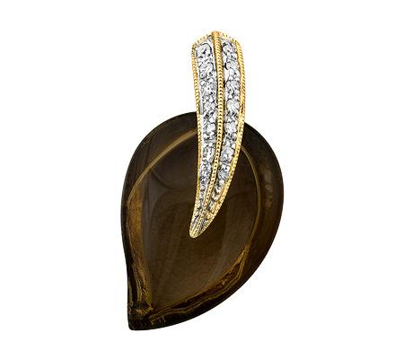 Фото«ZG-9162»Кулон с дымчатым кварцем и бриллиантами желтое золото