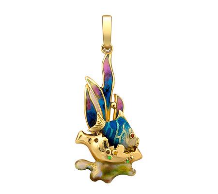 Фото«ZG-9165»Подвеска «Рыбка» из жёлтого золота с эмалью