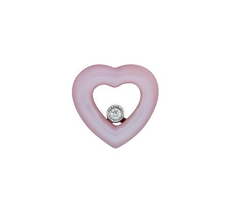 Фото«ZG-9205»Кулон из белого золота с розовым перламутром «Сердце»