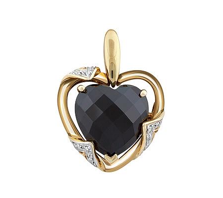 Фото«ZG-9209»Золотой кулон «Сердце» с гранатом и бриллиантами