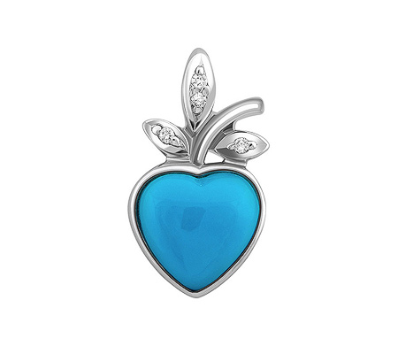 Фото«ZG-9218»Золтой кулон «Сердце» с бриллиантами и бирюзой